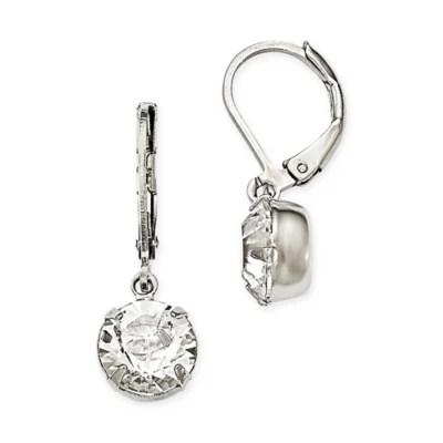 1928® Jewelry Silvertone Round Swarovski Elements Drop