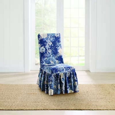 dining room chair slip covers bed bath and beyond lazy boy oversized recliner chairs sure fit ballad bouquet by waverly slipcover in indigo