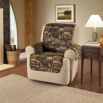 chair covers for wingback recliners taupe accent lodge recliner and cover in brown bed bath beyond