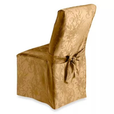 dining room chair slip covers bed bath and beyond wooden lounge autumn splendor gold cover