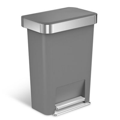 trash can kitchen cabinet storage solutions recycling cans for plastic stainless steel more simplehuman 45 liter rectangular step with liner pocket