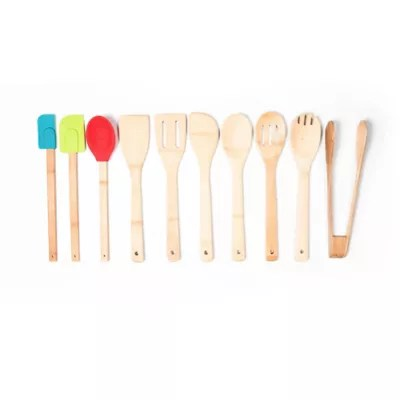 kitchen utensil sets sherwin williams cabinet paint cooking utensils tools bed bath 10 piece bamboo and silicone tool set