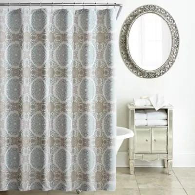 waterford jonet shower curtain in cream aqua bed bath beyond