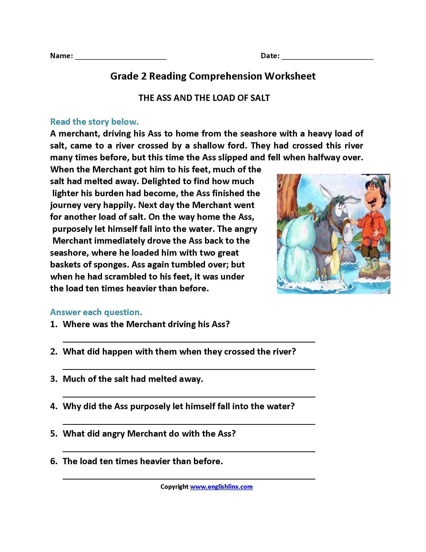 Reading Comprehension Grade 6 Worksheets