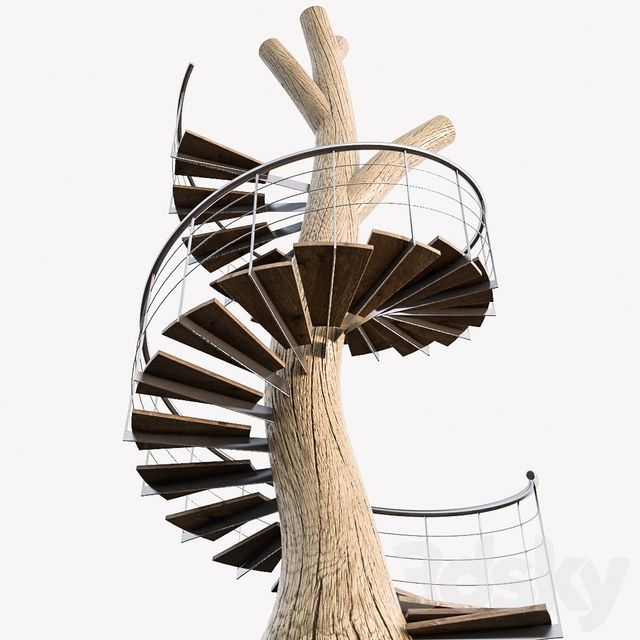 3D Models Staircase Tree Trunk Round Stair | Spiral Staircase Tree Trunk