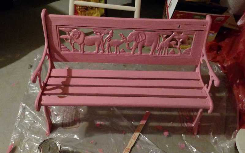 Painting a Garden Bench