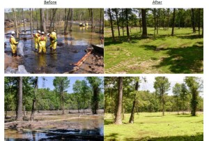 "Exxon's ""before"" & ""after"" photos of the Pegasus tar sands oil spill in Mayflower, AR"