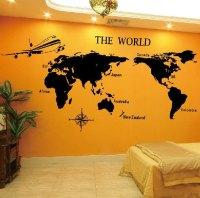 Vinyl Wall Decal World Map TV Home House Art Wall Decals ...