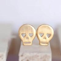 Gold Skull Stud Earrings, Skeleton Sugar Skull Ear Posts ...