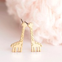 Gold Baby Giraffe Stud Earrings, Animal Zoology Ear Posts ...