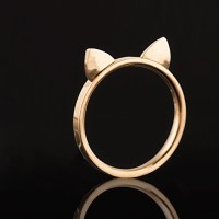 Rose Gold Cat Ears Ring [Stainless Steel] on Luulla