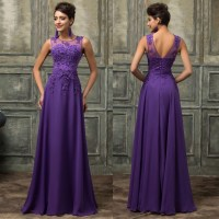 Long Prom Party Dresses 2016 Purple Prom Gowns O-neckline ...