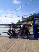 Crossing the Danube on the ferry.