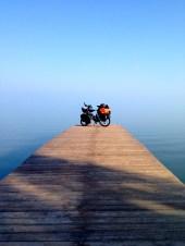 Bike on pier, Lake Balaton