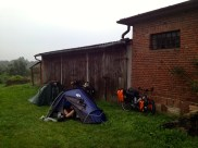 Tents set up behind a pub when we asked to camp