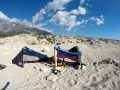 Cliff's beach shack to avoid the blistering Albanian sun on a day spent on the beach.