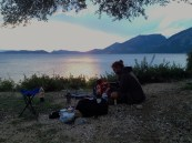 Sunset, camping and sea outside of Mitikas.