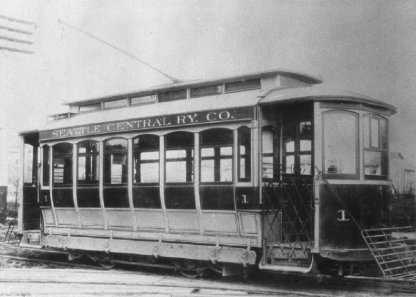 Photo of one of the cars used by Seattle Central Railway on their route including 12th, Columbia and 14th.