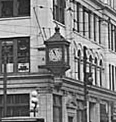 Looking south on 2nd at the People's Bank clock (MOHAI PI27335)