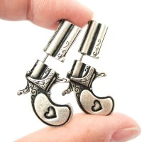 3D Fake Gauge Realistic Double Pistol Gun Stud Earrings In ...
