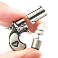 3D Fake Gauge Realistic Gun And Bullet Stud Earrings In