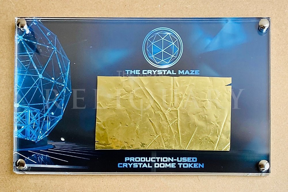 Crystal Maze- Production used Dome token- gold- Display Movie Reliquary