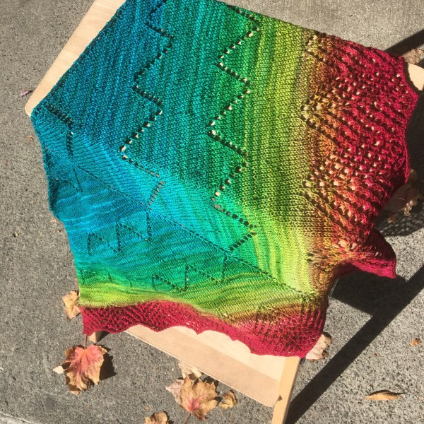 The Apex Shawl by Knox Mountain Knit Co. in one skein of Wollmeise Roll.