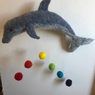 Felted dolphin mobile that Mel made as a teacher gift. Photo courtesy of Mel Broome.