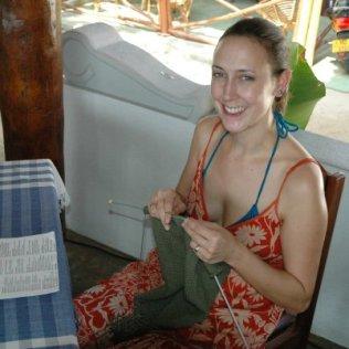 Rebecca knitting in Sri Lanka. Photo courtesy of Rebecca Glazier