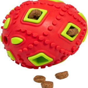BAASJE-DIERENOPPAS-BOETIEK-JV Toys Rubber Treat Egg Orange-Green with Treats-traktatie eitje - oranje/groen - 8 cm