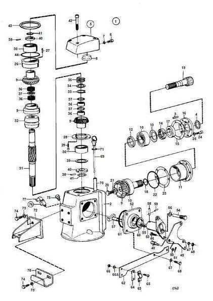 Splitt tegning av gear til Volvo Penta 110S seildrev