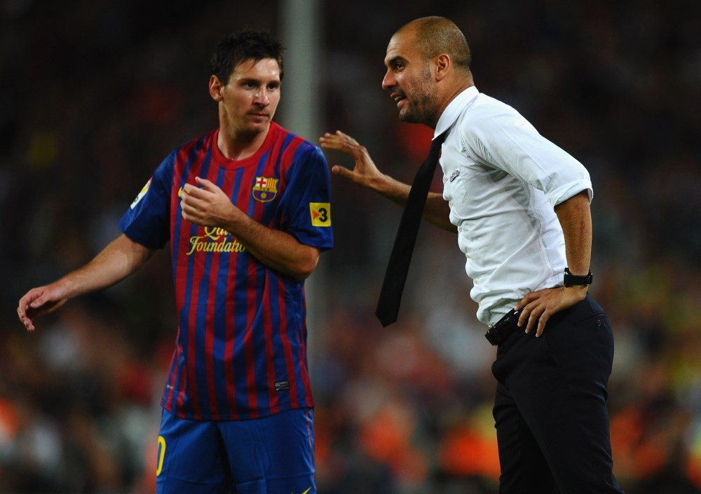 Messi and Pep Guardiola
