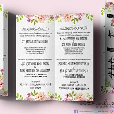 Design Kad Jemputan Kahwin Tema Floral