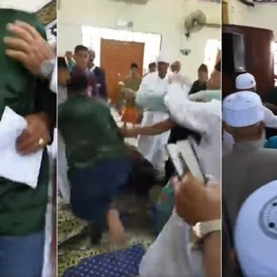 Fist Fight Erupts In Sabah Mosque Men In Skullcaps Bash Each Other Video Goes Viral