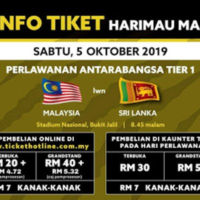 Harga Tiket Malaysia Vs Sri Lanka Friendly Match 5 10 2019