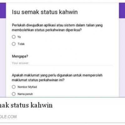 Perlu Wujudkan Satu Aplikasi Untuk Menyemak Status Perkahwinan