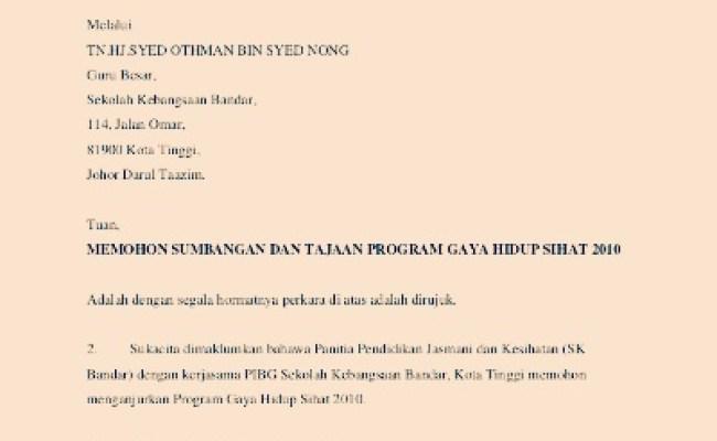 Contoh Surat Rasmi Kepada Ketua Menteri Sarawak