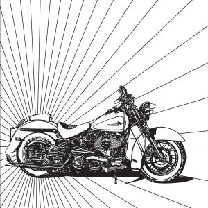 Harley Motorcycle Coloring Page