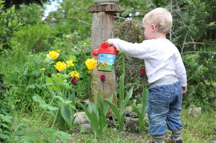 kisgyerek virágot locsol a kertben műanyag kiskannával