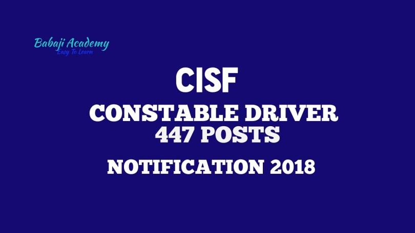 CISF Constable Driver RECRUITMENT 2018
