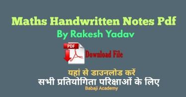 Rakesh Yadav Maths Book Pdf: Rakesh Yadav Class Notes Pdf