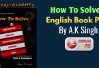 How to Solve English Book Free Pdf Download: AK Singh English book pdf