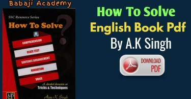 How to Solve English Book Free Pdf Download: AK Singh English book pdf
