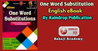 One Word Substitution Pdf : Rain Drop Publication