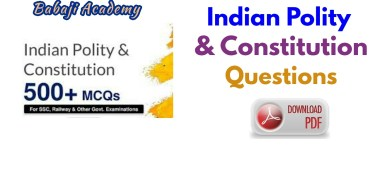 Indian Polity Constitution Objective Questions Pdf Download