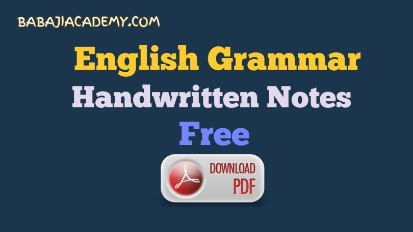English Grammar Hand Written Notes Pdf For Competitive Exams
