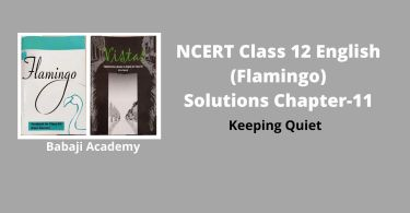 NCERT Solutions for Class 12 English, Chapter 11 Keeping Quiet Summary Pdf download
