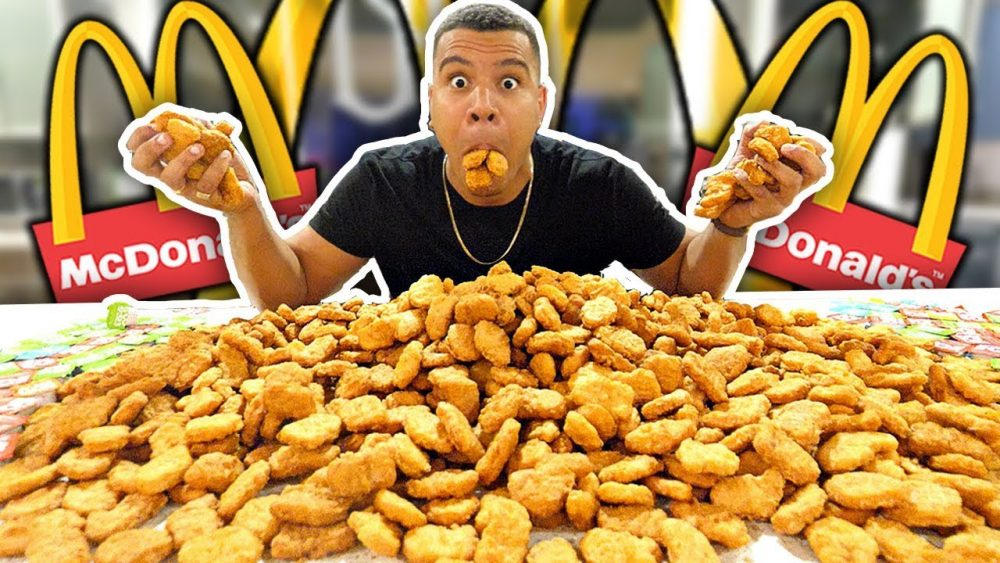 Person Chicken Eating Nuggets