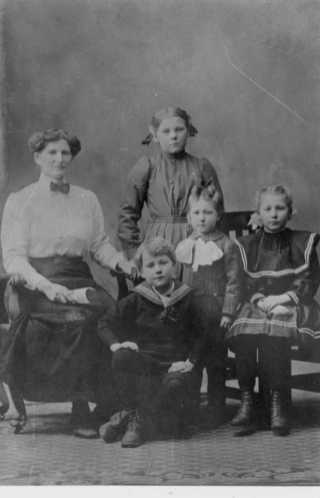 Lucinda, Mary (standing), Orville (sitting), Basil (standing & Maggie (sitting)