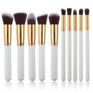 10 Professional Make Up Brushes white gold